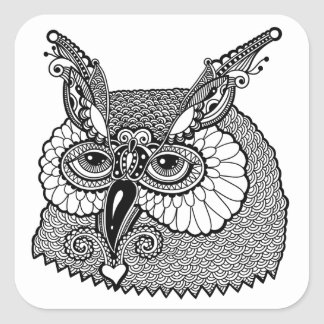 Owl Head Zendoodle Square Sticker