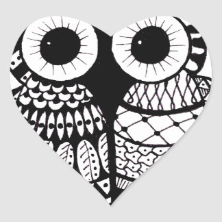 Owl Heart Sticker