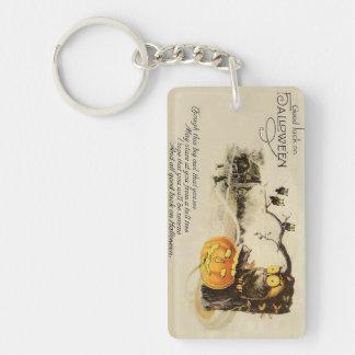 Owl Jack O' Lantern Pumpkin Tree Key Ring