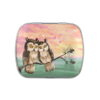 Owl love- be my valentine jelly belly candy tin