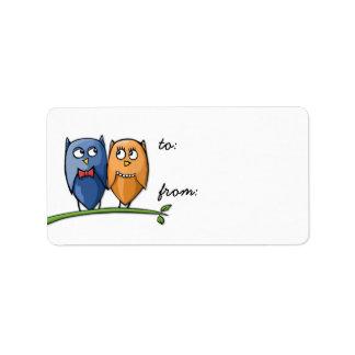 Owl Love Gift Tag Address Label