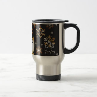 Owl Lovers Punny Holiday Owl in Gold & Black Stainless Steel Travel Mug