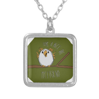 owl on a branch square pendant necklace