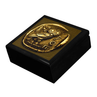 Owl on ancient greek coin gift box