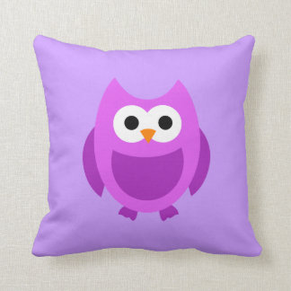 Owl Owls Bird Birds Purple Cute Cartoon Pillow