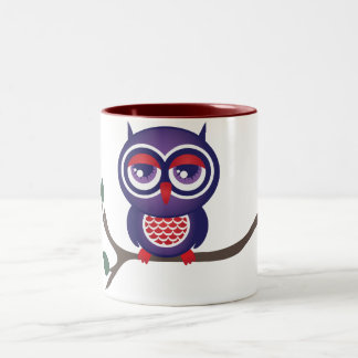 Owl perched on a branch Two-Tone coffee mug