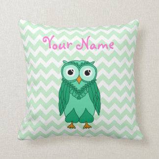 Owl Pillow: Green Custom Throw Pillow