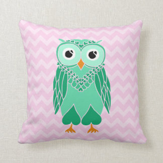 Owl Pillow: Green Owl Throw Pillow