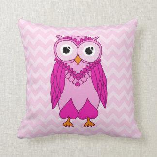 Owl Pillow: Pink Owl Throw Pillow
