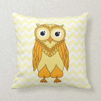 Owl Pillow: Yellow and White Chevron Owl Throw Pillow
