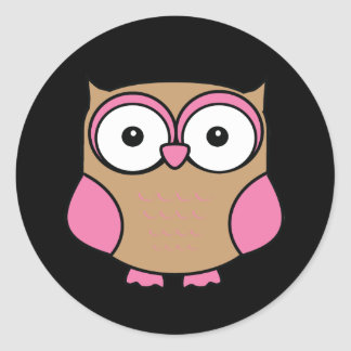 Owl Pink and Tan Classic Round Sticker