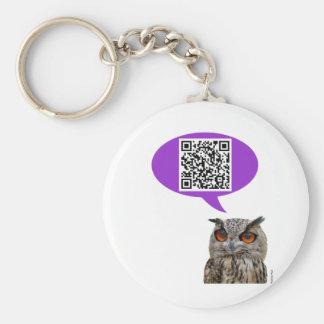 Owl QRCode Basic Round Button Key Ring