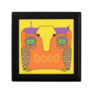 Owl Robot Orange Yellow Green Purple Small Square Gift Box