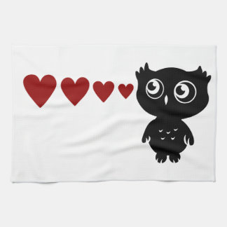Owl Sees Love I Tea Towel