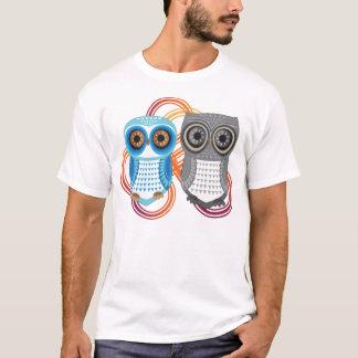 Owl T-Shirt Blue Grey Couple