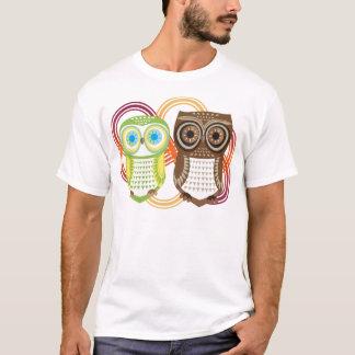 Owl T-Shirt Brown Green Couple