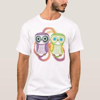 Owl T-Shirt Purple Green Couple