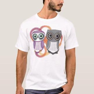 Owl T-Shirt Purple Grey Couple