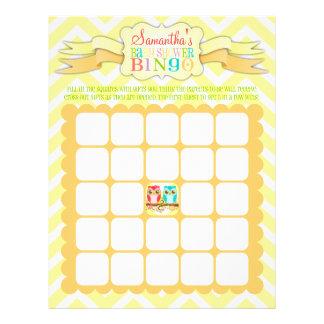 Owl Twins - Baby Shower Bingo & Name Scramble 21.5 Cm X 28 Cm Flyer
