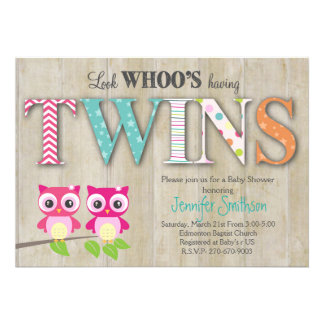 Owl TWINSBaby Shower - Look Whoo's Having a Baby 13 Cm X 18 Cm Invitation Card