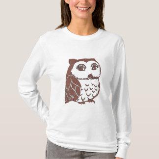 Owl Women's Hanes Nano Long Sleeve T-Shirt, White T-Shirt