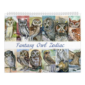 Owl zodiac fantasy watercolors 2015 wall calendar