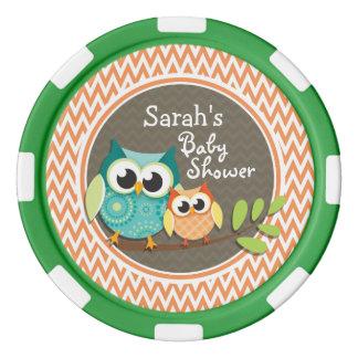 Owls Baby Shower; Orange and White Chevron Poker Chips Set