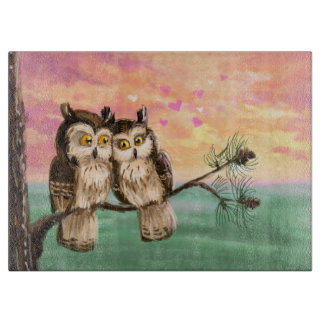 Owls couple love cute sunset cutting board