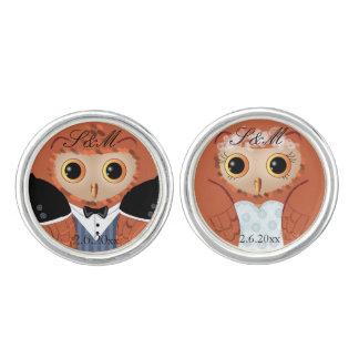 Owls - Fancy wedding owl couple Cufflinks