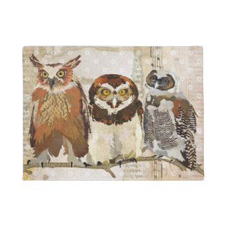 OWLS IN A ROW Door Mat