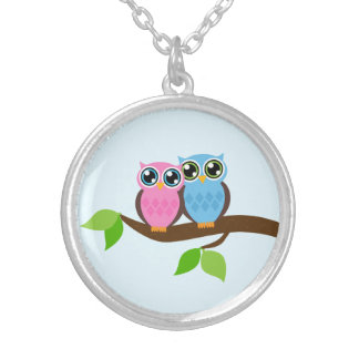 Owls Round Pendant Necklace