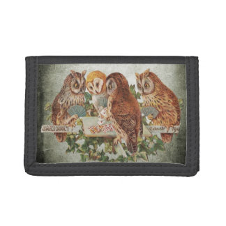 Owls Playing Poker Trifold Wallet