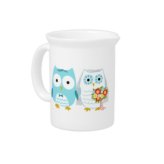 Owls Wedding Bride and Groom with Custom Text Beverage Pitcher