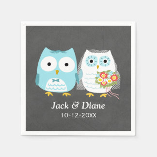 Owls Wedding Chalkboard Style with Custom Text Disposable Serviette