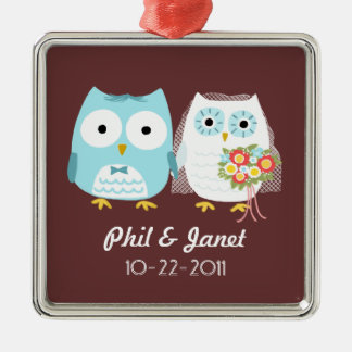 Owls Wedding Couple - Adorable Bride and Groom Silver-Colored Square Decoration