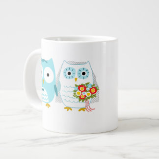 Owls Wedding Couple with Custom Text Giant Coffee Mug
