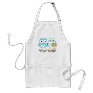 Owls Wedding Couple with Custom Text Standard Apron