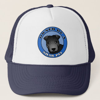Owned by A Shar Pei - Black Coat - Blue Trucker Hat