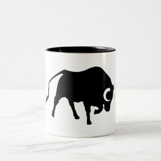 ox,moggy,cattle,cow,bullfight,corrida,horn Two-Tone coffee mug