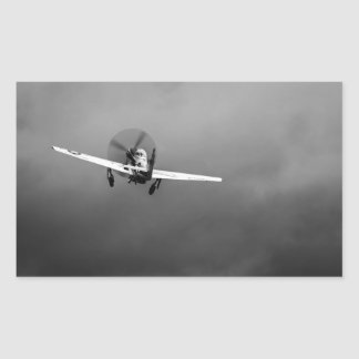 P-51 Mustang takeoff in storm Rectangular Sticker