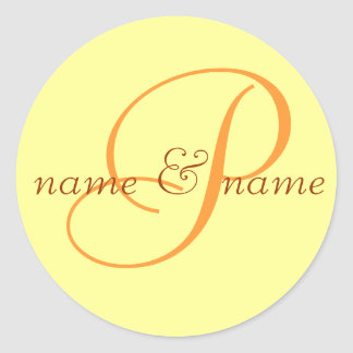 """P"" monogram label, personalize first names Round Sticker"
