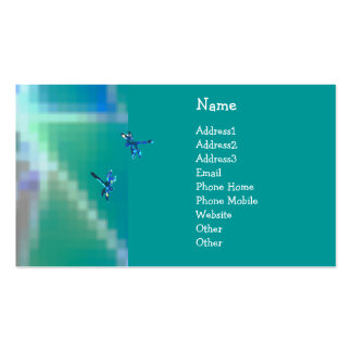 © P Wherrell  Aqua dragonflies mosaic abstract Pack Of Standard Business Cards
