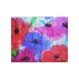 © P Wherrell Fine art painting anemones on silk Gallery Wrap Canvas