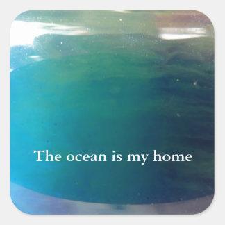 © P Wherrell Stylish trendy digital ocean abstract Square Sticker