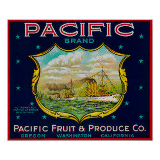Pacific Apple Crate Label Posters
