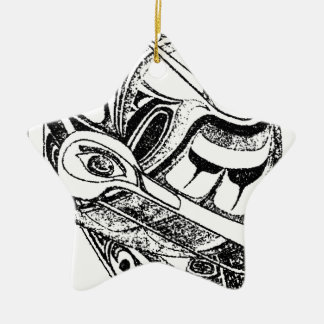 Pacific NW Coast Native Totem Raven and Seagull Christmas Ornament