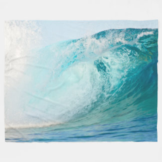 Pacific ocean blue wave breaking fleece blanket