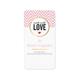 PACKAGING TAG LABEL made with love pink chevron Address Label
