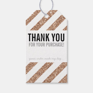PACKAGING THANK YOU rose gold glitter stripe black