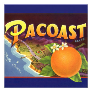 Pacoast Oranges Vintage Fruit Crate Label Art Invites